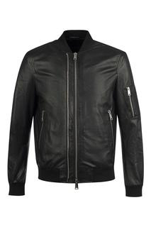 Кожаная куртка с вышивкой Emporio Armani