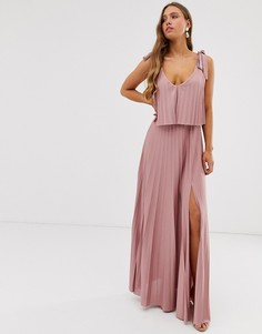 Платье макси с кроп-топом и завязками на плечах ASOS DESIGN - Розовый