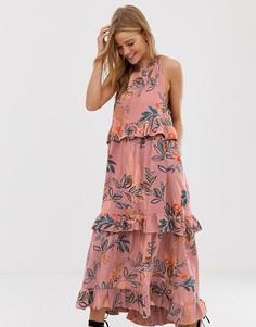 Платье макси с принтом Free People - Фиолетовый