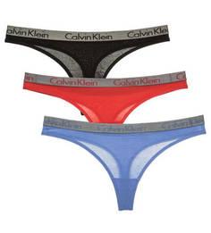 Комплект трусов Комплект из трех хлопковых трусов-стрингов Calvin Klein