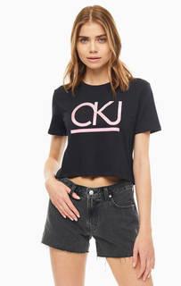 Футболка Укороченная футболка с монограммой бренда Calvin Klein