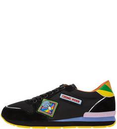 Кроссовки Черные кроссовки из текстиля и замши на шнуровке Trussardi