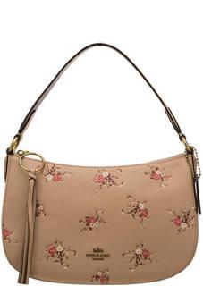 8ede1ca8e1e5 Сумка Бежевая кожаная сумка с длинной ручкой Sutton Coach с цветочным  принтом