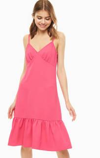 Платье-сарафан цвета фуксии с воланом Michael Kors
