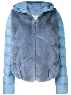 Liska пуховая куртка с капюшоном и панелями с мехом норки