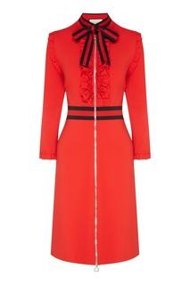 Красное платье на молнии Gucci