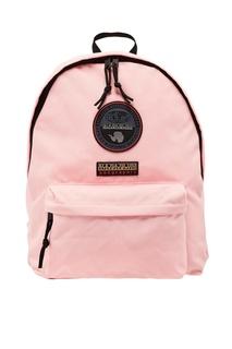 Розовый рюкзак с нашивками Napapijri