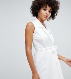 Белое платье без рукавов с поясом Missguided - Белый
