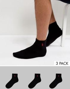3 пары черных спортивных носков Polo Ralph Lauren - Черный