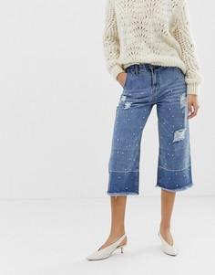 Широкие укороченные джинсы с отделкой искусственным жемчугом Current Air - Синий
