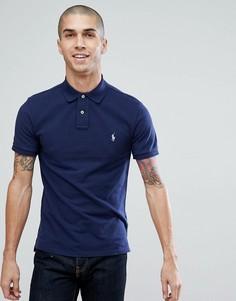 Поло из пике темно-синего выбеленного цвета узкого кроя Polo Ralph Lauren - Темно-синий