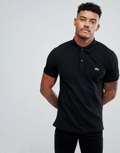 Черная облегающая футболка-поло Lacoste - Черный