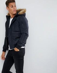 Куртка-авиатор с отделкой из искусственного меха на капюшоне French Connection - Темно-синий