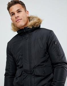 Куртка-авиатор с отделкой из искусственного меха на капюшоне French Connection - Черный