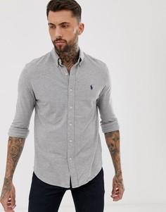 Серая меланжевая приталенная рубашка на пуговицах с логотипом Polo Ralph Lauren - Серый