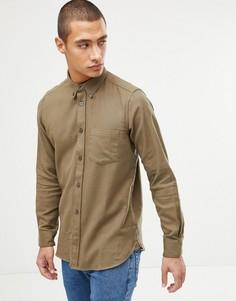Однотонная фланелевая рубашка French Connection - Зеленый