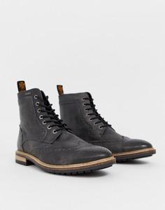 Черный кожаные ботинки-броги Superdry Brad Premium - Черный