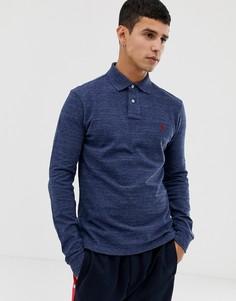 Поло из пике темно-синего меланжевого цвета узкого кроя с длинными рукавами Polo Ralph Lauren - Темно-синий