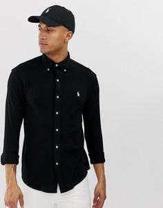 Черная приталенная футболка-поло из пике с воротником на пуговицах Polo Ralph Lauren - Черный