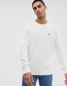 Белый хлопковый джемпер с круглым вырезом Polo Ralph Lauren - Белый