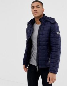 Стеганая куртка с капюшоном Superdry - Темно-синий