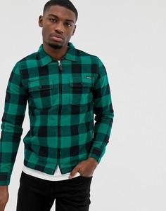 Зеленая рубашка навыпуск в клетку с молнией Superdry rookie - Зеленый