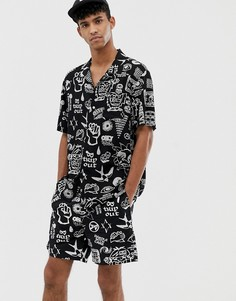 Черные шорты с принтом Obey Flash - Черный