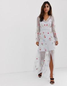 Платье макси с вышивкой French Connection Christy Bloom - Синий