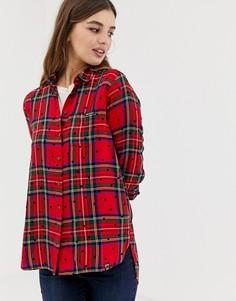Рубашка в клетку и горошек Superdry - Красный