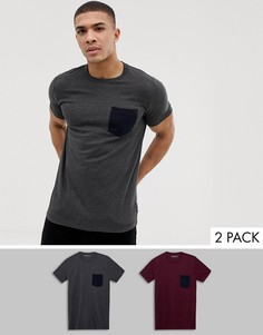 Набор из 2 футболок с карманом контрастного цвета French Connection - Мульти