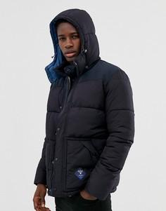 Темно-синяя дутая куртка с капюшоном Barbour Beacon Mill - Темно-синий