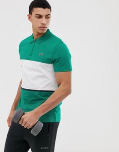Поло зеленого цвета с молнией Lacoste Sport - Зеленый