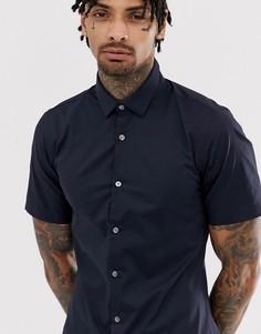 Однотонная эластичная рубашка с короткими рукавами French Connection - Темно-синий