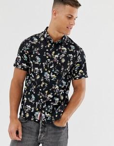 Черная рубашка с короткими рукавами и тропическим принтом Superdry - Черный