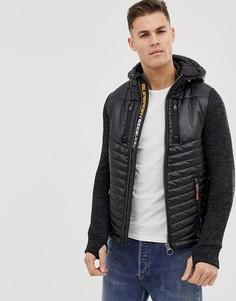 Черная трикотажная дутая куртка с капюшоном Sueprdry - Черный Superdry