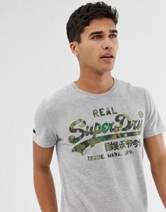 Серая меланжевая футболка с логотипом Superdry - Серый