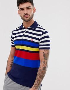 Темно-синее поло из ткани пике в разноцветную полоску Polo Ralph Lauren - Темно-синий