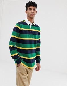 Зеленое поло в полоску с логотипом Polo Ralph Lauren - Мульти