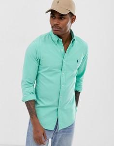 Ярко-зеленая оксфордская облегающая рубашка глубокой окраски на пуговицах и с логотипом Polo Ralph Lauren - Зеленый