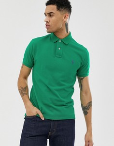 Облегающее ярко-зеленое поло из пике с логотипом игрока Polo Ralph Lauren - Зеленый
