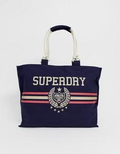 Парусиновая сумка-тоут с логотипом Superdry - Темно-синий