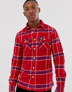Узкая рубашка в клетку Superdry - Красный