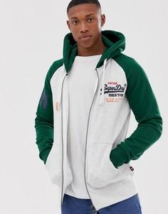 Худи на молнии с рукавами реглан и логотипом Superdry - Зеленый