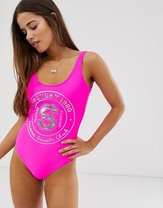 Слитный купальник с логотипом Superdry Miami Beach - Розовый