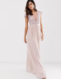 Плиссированное платье макси с кружевом и сеткой City Goddess - Розовый
