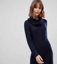 9d101dbb45a6891 Темно-синее фактурное платье со свободным воротом Esprit - Темно-синий