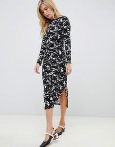Платье миди с мраморным принтом French Connection - Черный