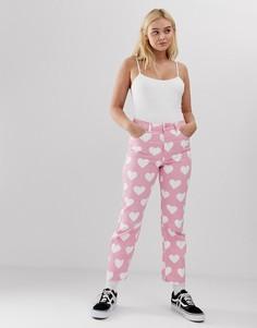 Джинсы в винтажном стиле с сердечками Lazy Oaf - Розовый