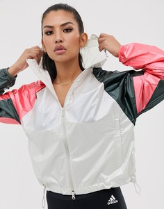 Спортивная куртка в стиле колор блок adidas - Белый