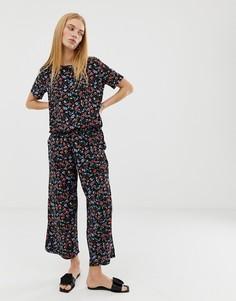 Укороченные брюки с цветочным принтом b.Young - Мульти
